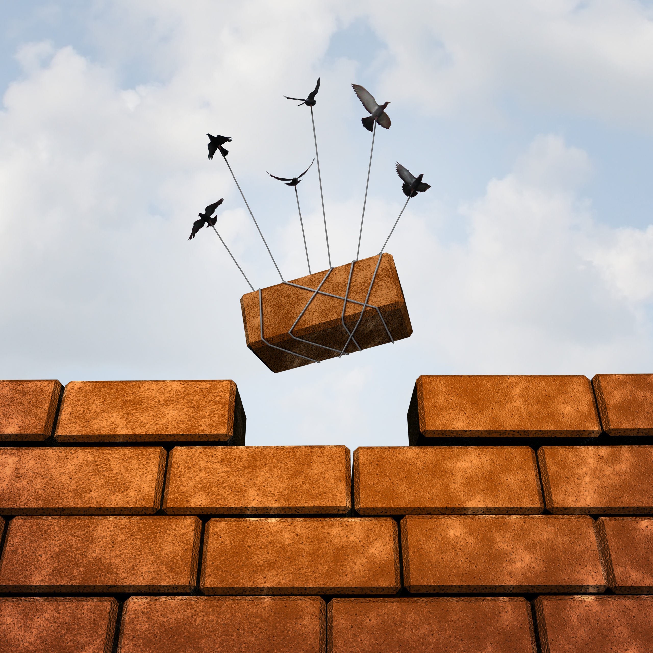 Build,A,Wall,Business,Concept,Or,Removing,An,Obstacle,As